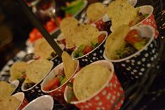 avocado salsa, served in paper cups, makes for easy clean up and no leftovers!
