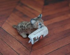 OOAK Realistic Dollhouse Miniature 1 12 Cougar Mom Cub Handmade Sculpt | eBay (love that he has a slightly open mouth and can hold a newspaper - great possibilities!)  by Reve.