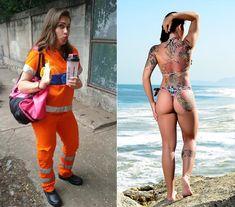 Gari gata Rita Mattos exibe tatuagem gigante em seu primeiro ensaio sensual