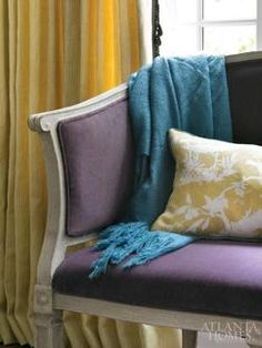 Gorgeous color combo: blue, yellow, purple and grey-ish....
