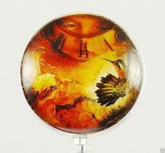 Retractable Reel ID Badge Holder Steampunk Hummingbird Clock Face Eyes  #Handmade
