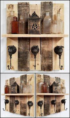 rustic pallet shelf idea
