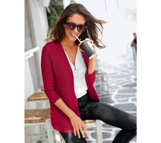 Sveter so 3/4 rukávmi | blancheporte.sk #blancheporte #blancheporteSK #blancheporte_sk #novákolekcia #ja #leto Blazer, Jackets, Jar, Women, Fashion, Down Jackets, Moda, Fashion Styles, Blazers