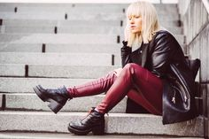 Burgundy leather pants and jacket - Tickle Your Fancy | Lily.fi