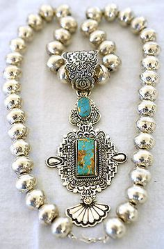 WALLACE-YAZZIE-JR-STERLING-ORNATE-TURQUOISE-PENDANT-ON-24-NAVAJO-PEARLS