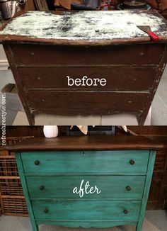 Unbelievable makeover with stain and paint! Emerald Green Dresser