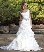 Augusta Jones Tip of the Shoulder A-Line Wedding Dress in Taffeta. Bridal Gown Style Number:32051252
