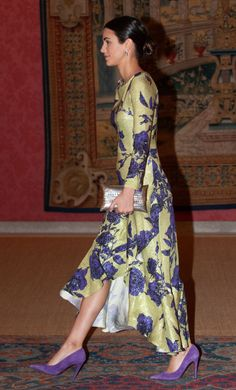 Alessandra de Osma attends a reception hosted by Peruvian president Martin Alberto Vizcarra in honour of King Felipe VI of Spain and Queen Letizia of Spain at El Pardo Palace on February 2019 in. Get premium, high resolution news photos at Getty Images Fuschia Pink Dress, Pale Blue Dresses, Black Opaque Tights, Malva, Bridal Fashion Week, Queen Letizia, Floor Length Dresses, Royal Fashion, Simple Dresses