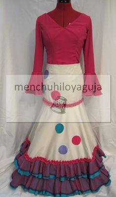 Otro diseño de flamenca que podemos confeccionar es la falda de media capa , que te puede servir de enagua interior, como falda para un vest...