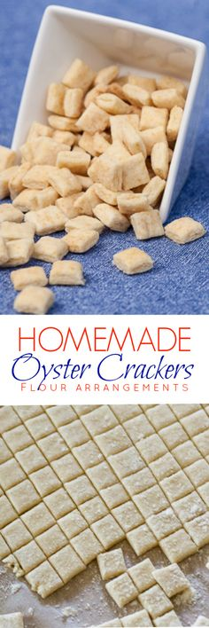 Using a pizza cutter to slice the dough makes creating homemade oyster crackers a breeze. This simple recipe is great with soup or for snacking. Savory Snacks, Snack Recipes, Cooking Recipes, Vegan Snacks, Homemade Crackers, Homemade Biscuits, Homemade Recipe, Oyster Crackers, Food Porn