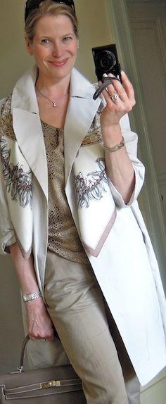 Hermès' 'Aux Pays des Epices' scarf with spring capsule wardrobe