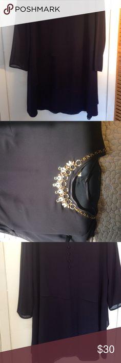 Jones NY Dress 20W, 100% polyester elegance Navy blue 20w tiered classy navy blue dress Jones New York Dresses