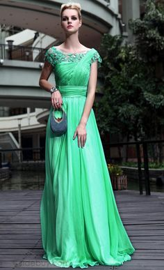 Charming Princess A-line Short Sleeves Sashes Floor-length Evening Party  Dress Schick 244167eac61b