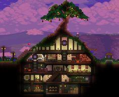 Terraria Hobbit hole house design inspired by LOTR - RandomOverload Terraria House Design, Terraria House Ideas, Terraria Tips, Pc Minecraft, Cute Minecraft Houses, Minecraft House Designs, Minecraft Crafts, Minecraft Stuff, Glass House Design