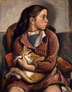 "Usaburo IHARA (1894 - 1976) - ""Yuriko and Mimi"", 1949 - Oil on canvas - The National Museum of Modern Art, Tokyo"