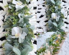 BellasBloomStudio Greenery Centerpiece, Greenery Garland, Wedding Table Centerpieces, Wedding Decorations, Table Decorations, Eucalyptus Garland, Eucalyptus Wedding, Flower Backdrop, Flower Garlands