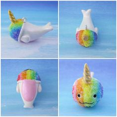 Narwhal Rainbow Snow Cone Charm Necklace by FlourCityCharms