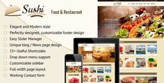 Sushi - Food & Restaurant Shopify Theme . Sushi – Fully Responsive shopify theme suitable to promote Restaurant, hotel and food deals, restaurant packages, food combos, fashion/trendy products. Give face-lift to your eCommerce store with Sushi that works great on mobile devices, tablets and computers. Easy customization, unique design with