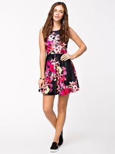 flower print a-line dress