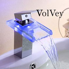 Volvey LED waterfall faucets is a self-developed basin modern bathroom sink faucets.With a water-saving devices, has good water, filtration and water temperature prompts, luminous color according to water temperature changes.