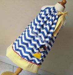 Snow White Inspired Blue Chevron & Yellow polka dot pillowcase dress by CookieBellaCreations. Perfct birthday party or disney trip dress gor baby toddler & girls.