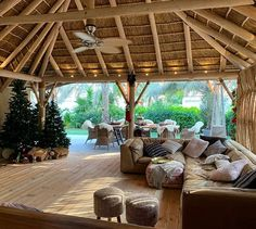Outdoor thatched roof completed in a natural timber finish and wooden deck! Who would like to relax here! Thatched House, Thatched Roof, Gazebo On Deck, Pergola, Roof Design, Deck Design, Outdoor Gazebos, Outdoor Structures, Dormer Roof