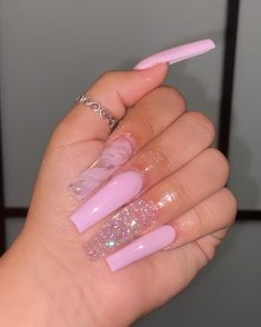Acrylic Nails Coffin Pink, Long Square Acrylic Nails, Simple Acrylic Nails, Drip Nails, Aycrlic Nails, Swag Nails, Cute Acrylic Nail Designs, Pink Nail Designs, Dope Nail Designs