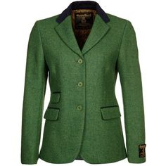 Harris Tweed Clothing SARAH Blazer (900 BRL) ❤ liked on Polyvore featuring outerwear, jackets, blazers, coats, green, women's outerwear, harris tweed jacket, blazer jacket, green blazer and harris tweed blazer