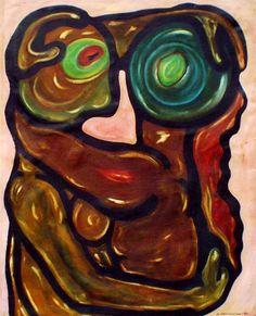 Mand og Kvinde Olie på lærred (76x62) 1986 af Svend Christensen