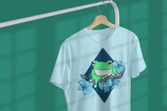 Frogs&Flowers - ladies men unisex shirt - Frogs - amphibian - froggy - treefrog by SpazzyNewton on Etsy Cut Shirts, Printed Shirts, 1 Oz, Cotton Shorts, Frogs, Workout Shirts, T Shirts For Women, Unisex, Lady