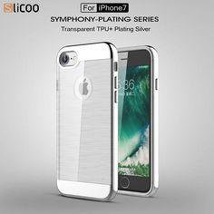 Electro-Brush iPhone 7 Case, Chrome Color Bumper, Brush Transparent Back Cover