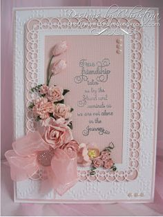Flowers, Ribbons and Pearls: Peach and White. Pretty Cards, Cute Cards, Card Making Inspiration, Making Ideas, Scrapbook Cards, Scrapbooking, Spellbinders Cards, Anna Griffin Cards, Friendship Cards