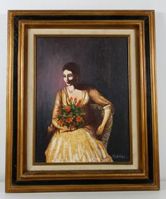 Vintage Figurative Woman With Flowers Oil Painting Signed Alfred Weiss