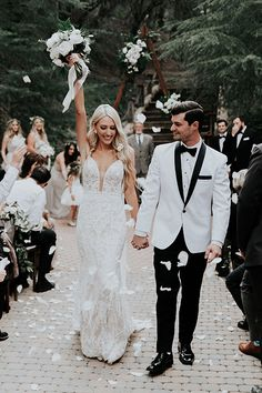 When Orange County social media influencer tied the knot at Rancho Las Lomas, her fiance wore a white tuxedo from while the groomsmen wore black tuxedos, also from Friar Tux and the bridesmaids wore beige gowns, check out the romantic wedding details! White Tuxedo Wedding, Wedding Tux, Wedding Bridesmaid Dresses, Wedding Attire, Dream Wedding, Garden Wedding, Wedding Reception, Groom Wear, Groom And Groomsmen