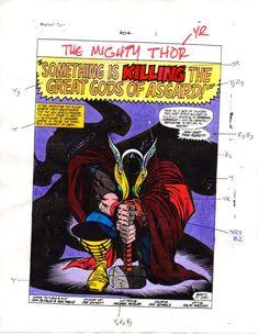 Vintage original 1989 Thor 404 splash page 1 Marvel Comics color guide art: 80's #marvel #marvelcomics #thor #avengers #ronfrenz #joesinnot #colorguide #colorguides #originalart #originalartwork #comicart