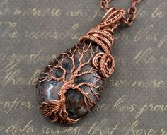 Garnet Tree-Of-Life Necklace Pendant Wire Copper Jewelry Healing stones Family Tree Rustic Anniversary Gift for Men Women January Birthstone by LeeMarina on Etsy