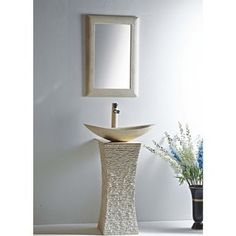 Shop for MTD Vanities Milan Galala Marble Stone Pedestal and Vessel Bowl Sink. Get free delivery On EVERYTHING* Overstock - Your Online Furniture Outlet Store! Get in rewards with Club O! Bathroom Furniture, Home Furniture, Bathroom Sinks, Furniture Outlet, Online Furniture, Rustic Furniture, Antique Furniture, Marble Bathrooms, Furniture Plans