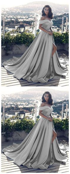 sexy leg slit long silver gray prom dresses v neck off the shoulder evening gowns 2018