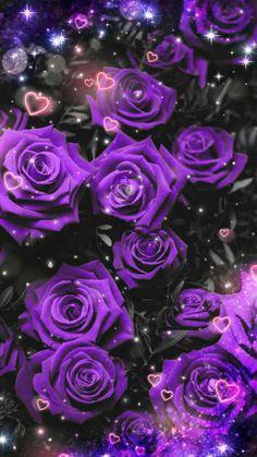 By Artist Unknown. Art Violet, Purple Art, Purple Love, All Things Purple, Beautiful Rose Flowers, Colorful Flowers, Purple Flowers, Purple Roses Wallpaper, Butterfly Wallpaper