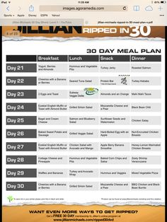 30 day meal plan, day 11-19 | Fitness 24/7 | Pinterest | 30 day ...