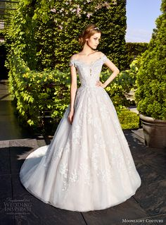 moonlight couture spring 2017 bridal off the shoulder heavily embellished bodice gorgeous romantic princess a  line wedding dress lace back chapel train (h1323) mv