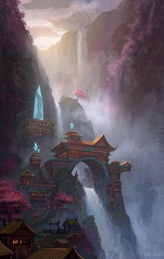 This background art from league of legends looks good and inspires me to use rivers and water falls in my custom background