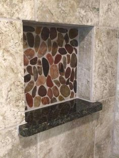 Using the granite used for the Countertop and shower pan material in the shower niche bring all the elements in this master bathroom remodel together in one place. Shower Niche, Shower Pan, Master Bathroom, Granite, Countertops, Bathrooms, Home, Master Bath, Vanity Tops