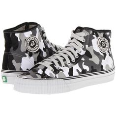 PF Flyers Center Hi (52 CAD) ❤ liked on Polyvore featuring shoes, sneakers, camo white, sneakers & athletic shoes, white sneakers, camouflage wedge sneakers, perforated sneakers, white wedge sneakers and camouflage sneakers
