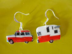 Retro Red Car and Camper Trailer Earrings by TailfeathersJewelry. , via Etsy.