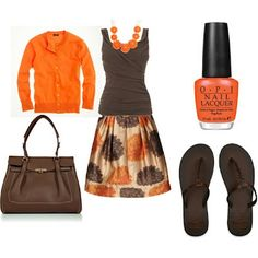Brown & Orange. I like the combination. Love the sweater and, skirt and necklace