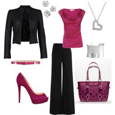 Pink drape tee, black slacks, black pumps, black jacket and silver accessories. [or wear with a black pencil skirt]