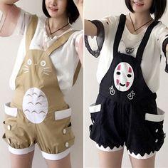 Totoro & No Face Suspender Shorts #shutupandtakemyyen #anime #kawaii #studioghibli #totoro #noface #spiritedaway #shorts #clothes #animemerch #animemerchandise #otaku #merch #merchandise #myneighbortotoro #cosplay