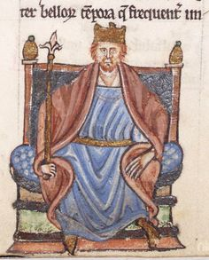 Depiction of King Henry II by by Giraldus Cambrensis (Gerald of Wales) composed the Topography of Ireland in between 1186 and 1188, after his travels in Ireland in 1183 and with Prince John in 1185. Illustration from the bottom margin of page 237 (Expugnatio Hibernica) - written in 1187 and 1189.