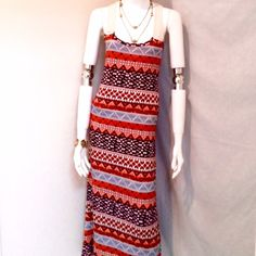 "Chesley Summer Sun Dress Chesley Summer Aztec Print Maxi Sun Dress. Size Small. 97% Polyester, 3% Spandex. Measurements: Armpit to Armpit 16"", Waist 16"", Length 55"". Chelsey Dresses Maxi"